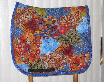 Custom Quilted English Saddle Dressage pad, By the Sea Abstract, handmade by Pegasusthreads.