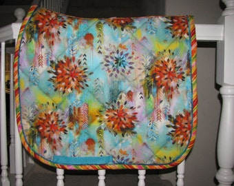 Custom Quilted English Saddle Dressage Pad, Tribal Abstract, handmade by Pegasusthreads.