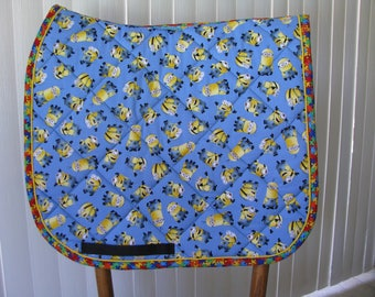 Custom Order for Lori.  Quilted English saddle All Purpose pad, Tossed Minions, handmade by Pegasusthreads.
