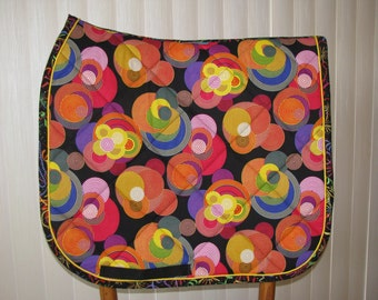 Custom Quilted Dressage English Saddle pad, Circle at X, handmade by Pegasusthreads