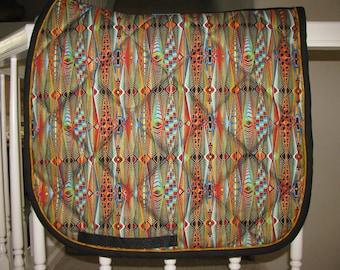 Custom Quilted English Saddle Dressage pad, Luminous Stripes, handmade by Pegasusthreads.