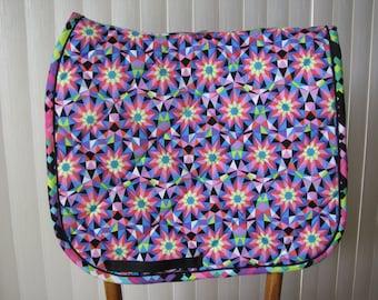 Custom Quilted English Saddle Dressage pad, Starburst, handmade by Pegasusthreads.