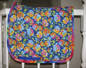 Custom Quilted English Saddle Dressage pad, Flower Power, handmade by Pegasusthreads.