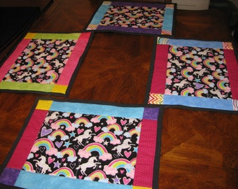 Custom Quilted Set of 4 Placemats, Unicorn Magic, handmade by Pegasusthreads.