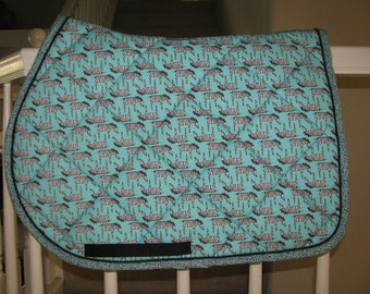 Custom Quilted English Saddle All Purpose, AP, pad, ZZZZZebras, handmade by Pegasusthreads.