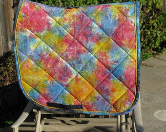Quilted Cotton Batik Leaves English Dressage Saddle pad handmade by Pegasusthreads