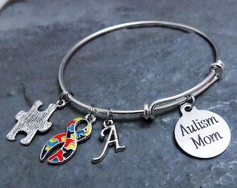 Autism Mom Bracelet - Charm Bracelet - Autism Jewelry - Expandable Bangle - Autism Awareness - Puzzle Piece Charm - Laser Engraved Pendant