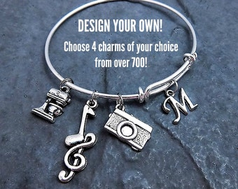 Build A Bangle - Charm Bracelet - Custom Bracelet - Personalized Jewelry - Build Your Own - Monogram Bracelet - Initial - Mom - Friendship