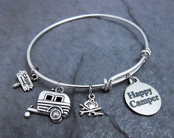Camping Gift for Her Happy Camper Charm Bracelet Expandable Bangle - Choice of Stainless Steel  Braided / Twisted  Engraved Jewelry