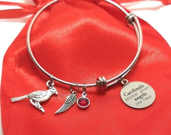 Cardinals Appear When Angels are Near Charm Bracelet - Cardinal Jewelry - Memorial Gift