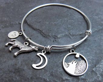 Wolf Jewelry - Howling Wolf - Charm Bracelet - Gift for Wolf Lover - Wolf Pendant - Animal Jewelry - Wolves - Crescent Moon - Expandable