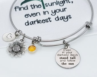 Sunflower Charm Bracelet - Stand Tall and Strong -  Sunflower Jewelry