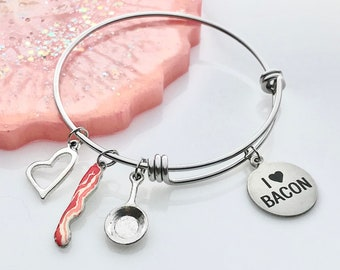 I love Bacon Charm Bracelet - Gift for Bacon Lover - Foodie Gifts for Women - Stainless Steel Expandable Bangle