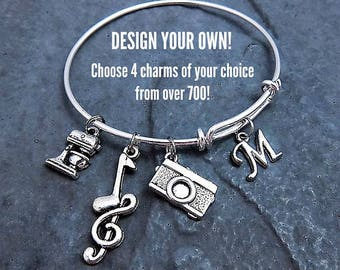 5d965ba78 Custom Charm Bracelet Personalized Expandable Bangle Customize your own and  Choose up to 4 charms - Affordable Jewelry - Gift for Her
