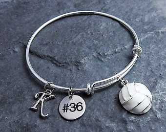 Volleyball Bracelet - Team Gifts - Choose Initial and Number - Charm Bracelet - Volleyball Gifts - Personalized Jewelry - Expandable Bangle