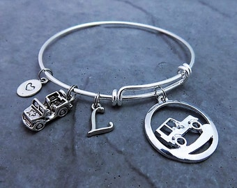 Jeep Charm Bracelet Gift For Lover Jewelry Off Roading 4X4 Girl Personalized Custom Expandable Bangle