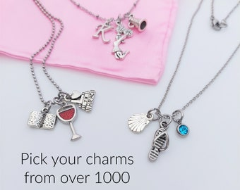 Custom Charm Necklace, Pick Your Chain and Charms, Design Your Own Personalized Story Jewelry, Birthday Gifts for her or any Occasion