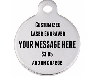 Custom Laser Engraved Charm, Add on, Personalized Stainless Steel Pendant, Engraving with Text (no logos) Name, Favorite Quote, Monogram
