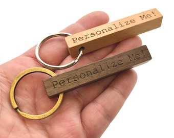 Custom Engraved 4 Sided Wooden Keychain - Beech Wood or Walnut - Personalized Key Ring - Key Fob for New Homeowner, Dad, Real Estate Agent