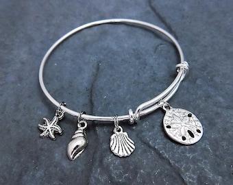 Sea Shell Bracelet - Charm Bracelet - Beach Jewelry - Expandable Bangle - Beach Lover -  Beach Wedding - Bridesmaid Gift - Sand Dollar Charm