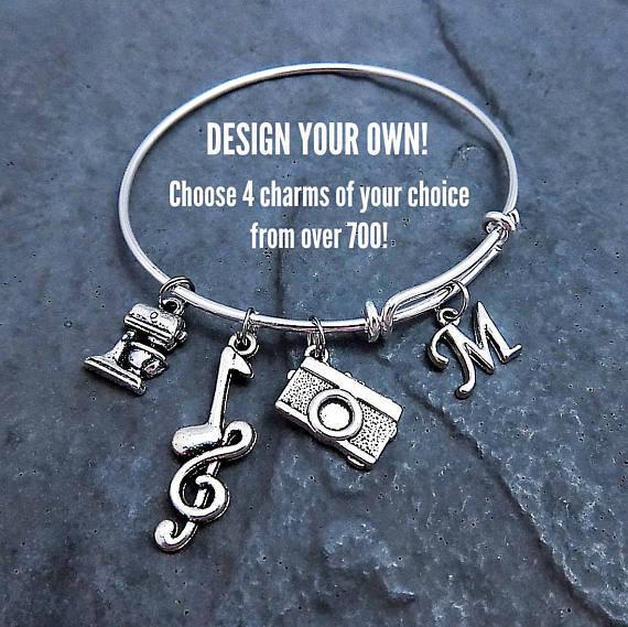 custom charm bracelet personalized expandable bangle. Black Bedroom Furniture Sets. Home Design Ideas