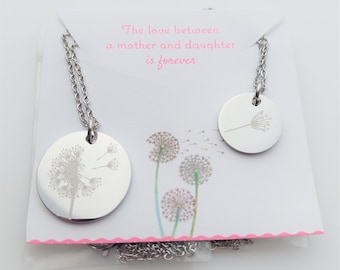 Dandelion Necklace Set of 2 - Mother and Daughter Engraved Dandelion Jewelry - Wish Necklace - Minimalist - Flower - Floral - Nature