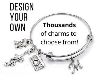 Build A Bangle - Charm Bracelet - Custom Bracelet - Personalized Jewelry - Build Your Own - Monogram Bracelet - Initial - Mom - Friendship