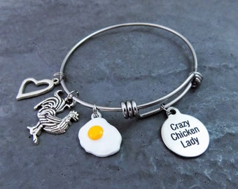Crazy Chicken Lady Charm Bangle Bracelet with Sunny Side Up Egg, Farmhouse Jewelry Gift for Her Chicken Lover