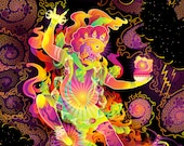 Hayagriva's Eyes - Psychedelic Fluorescent UV-Reactive Backdrop Tapestry Blacklight Poster