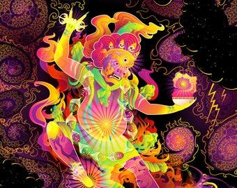 Hayagriva's Eyes - Psychedelic Fluorescent UV-Reactive Backdrop Tapestry Blacklight Poster