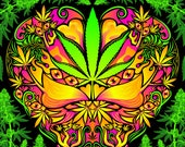 Cannabis Love Psychedelic Fluorescent Backdrop Tapestry
