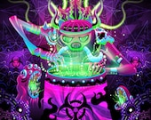 Post Apocalypse Shaman - Psychedelic Fluorescent UV-Reactive Backdrop Tapestry Blacklight Poster