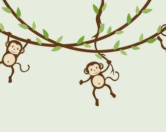 Hanging Monkey Wall Decal Vines Nursery Decals Boy Monkeys Kids Room Evergreen Design
