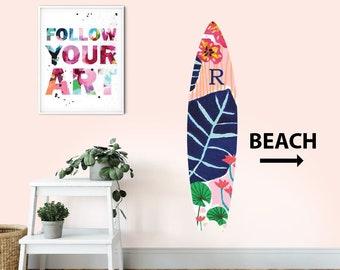 Personalised Wall Art Sticker SURFBOARD