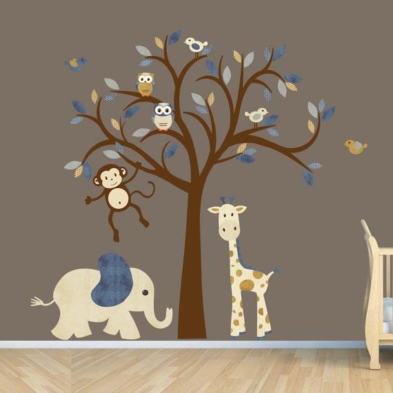 Kinder Dschungel Tier Kinderzimmer Dekor Baum Wandtattoo Etsy