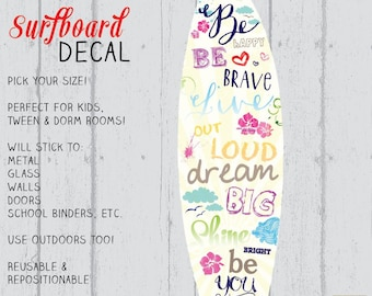 Surfboard Decal, Surfboard Decor, Wall Surfboard, Vinyl Surfboard, Butter Surfboard Art by Jennifer McCully