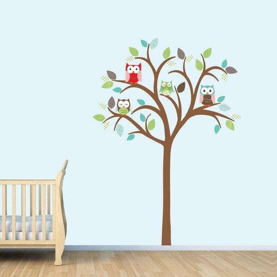 Eule Baum Wand Aufkleber Junge Wandtattoo Eule Baum Wand Etsy