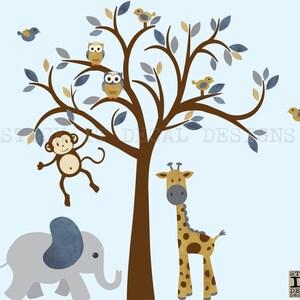 Junge Safari Wandtattoo Dschungel Tier Baum Kinderzimmer Etsy