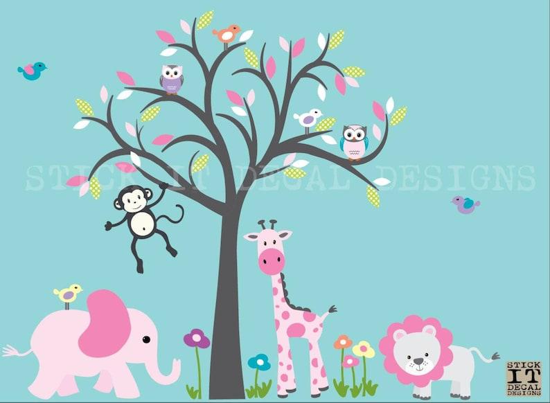 Safari Animal Wall Decal Grey Tree Girl Room Wall Decal Jungle Animal wall decal Retro Pink Carnival Design Girl Nursery Decor