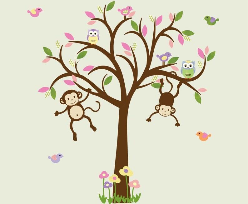 Affe Wandtattoo Kinderzimmer Wandtattoo, Mädchen Baum Wandtattoo, Kinder  Zimmer Wandtattoos, Aufkleber, Wassermelone Design Affe / braun Baum