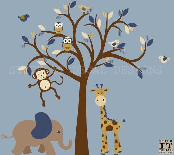 Wandtattoo junge safari dschungel tiere wandtattoo baum etsy - Wandtattoo dschungel baum ...