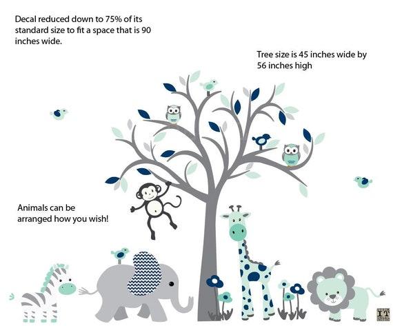 Owl Tree Wall Decal SMALLER Indigo Blush Design  Grey Tree Safari Animal Wall Decal elephant Twins Nursery Nursery Wall Decal