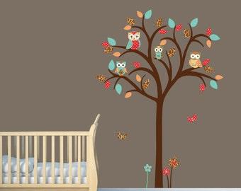Owl tree wall decal, Owl tree wall sticker, Nursery Wall Decal, owl wall decal, nursery owl decor, Modern Jungle Design