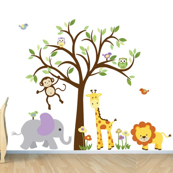 Girl Room Wall Decal Safari Animal Wall Decal Nursery Wall Etsy