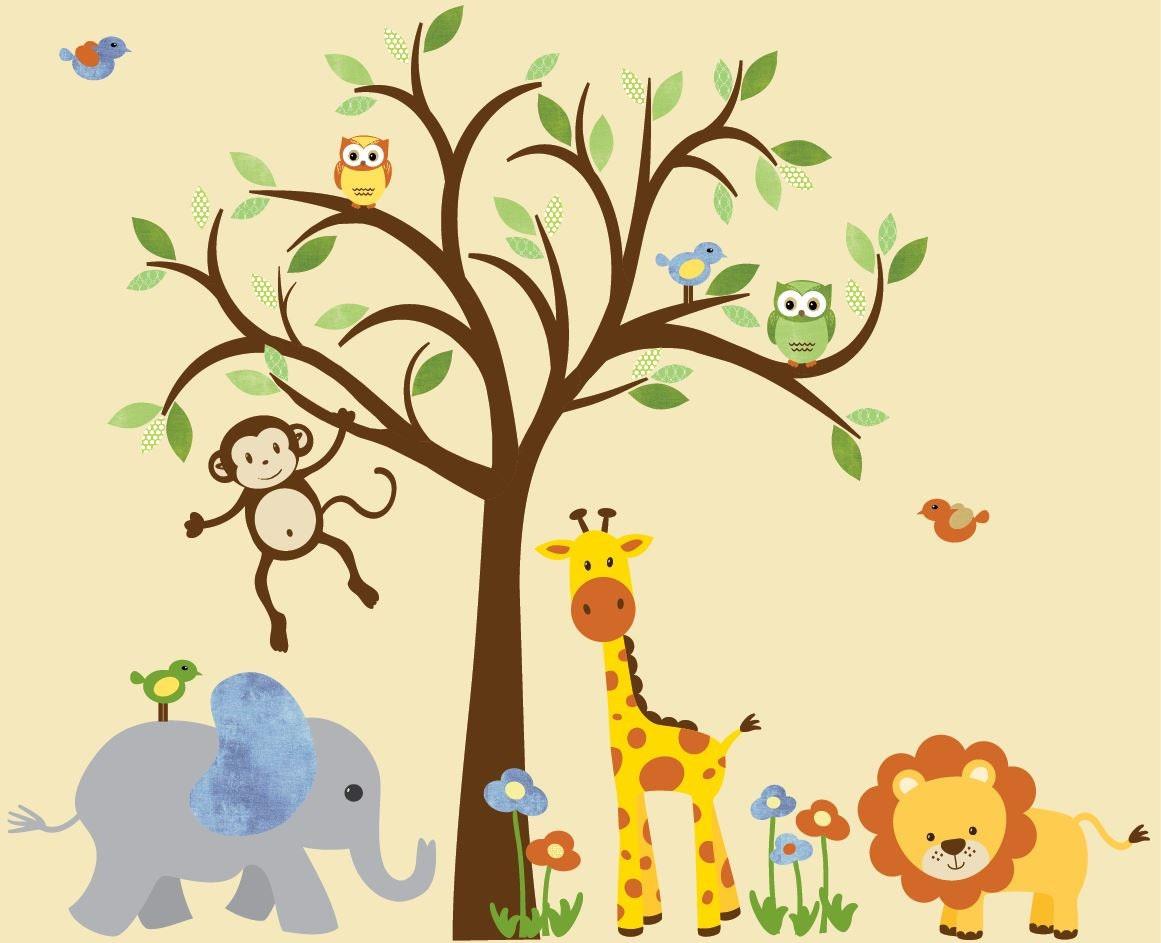 Safari Animal Wall Decal Nursery Wall Decal Jungle Animal | Etsy