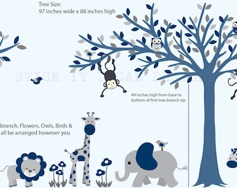 Boy Wall Decal, Jungle animal decor, Blowing Tree, Nursery Wall Decal, Jungle nursery decor, All blue with Navy, Blue Tree