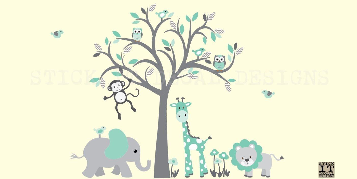 Mint Nursery Wall Decal Safari Animal Wall Decal Nursery Etsy