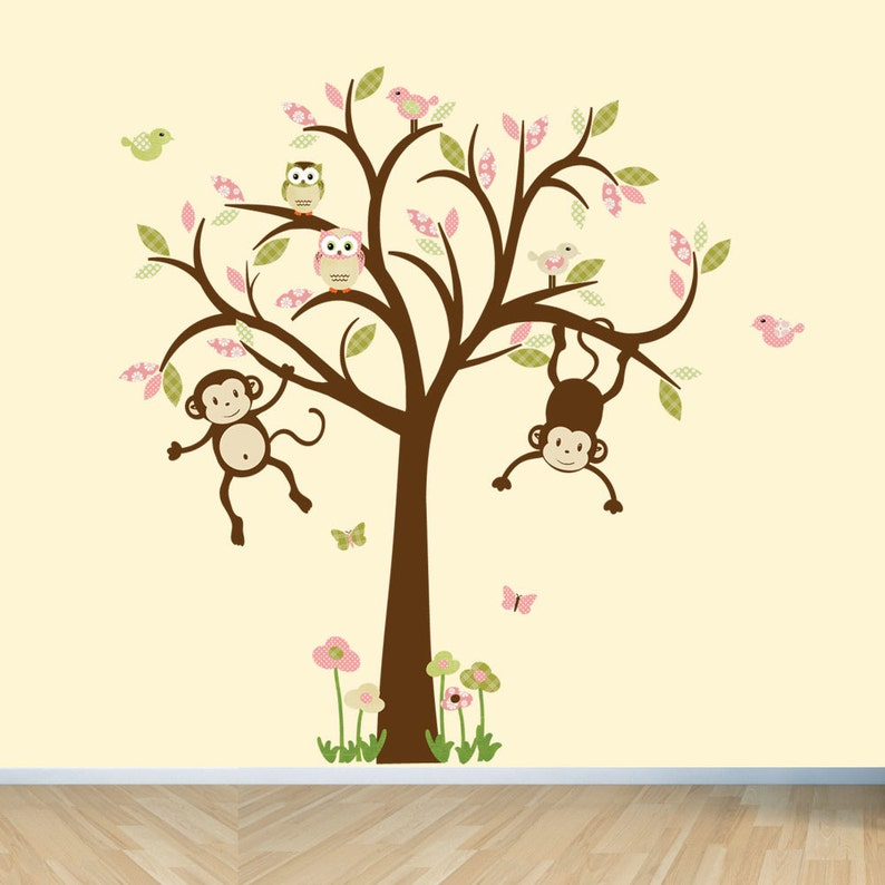Affe Wandtattoo Kinderzimmer Wandtattoo Mädchen Baum | Etsy