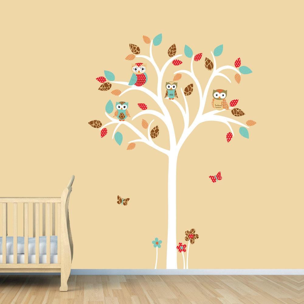 Owl tree decal Owl tree wall sticker Owl Nursery Art owl | Etsy