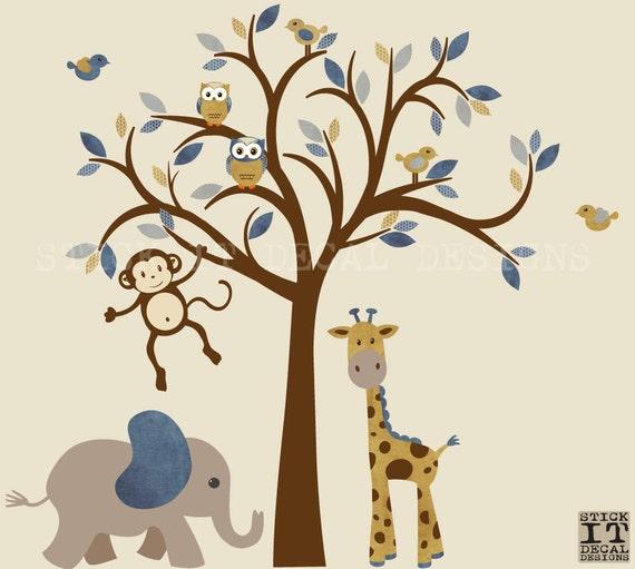 Junge Safari Wandtattoo Dschungel Tier, Baum Kinderzimmer Wandtattoo,  Rindsleder Wandgestaltung